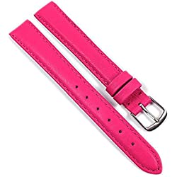 Beach Replacement Band Watch Band Leather Kalf raspberry 21695S, width:14mm
