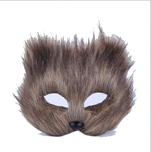 ZHANGXLMM Maskerade Maske Tier Männlich Und Weiblich Half Face Requisiten Halloween Chat Schnell Fuchs Fee Fuchs Maske,Grey (Tier Maskerade Masken)