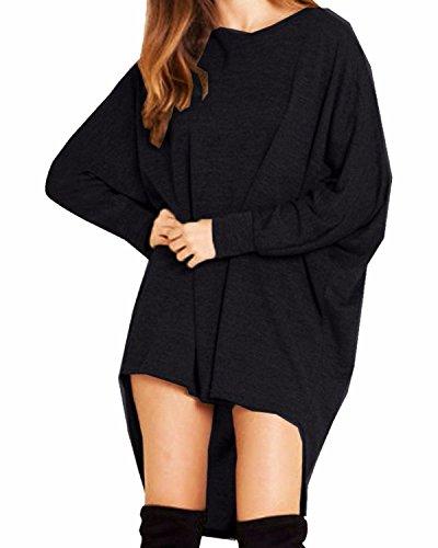 StyleDome Damen Lose Asymmetrisch Jumper Sweatshirt Pullover Bluse Oberteile Oversize Tops- Gr. EU 38-40 / US 6-8 (M), Schwarz