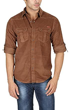 Mufti Men's Slim Fit Corduroy Shirt (MFS-5659_Brown_X-Large)