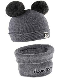 Fenteer Kit Per Unisex Maglia Cappello + Sciarpa Caldo Berretto Invernale  Per Bambini 6-12mesi 56efeff8468b