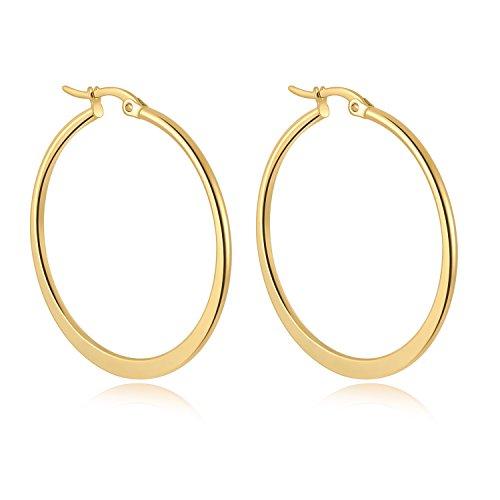 yumay 9ct Gelb Gold Creolen für Frauen, europäische Style Fashion Ohrringe mit Schmuck Box.
