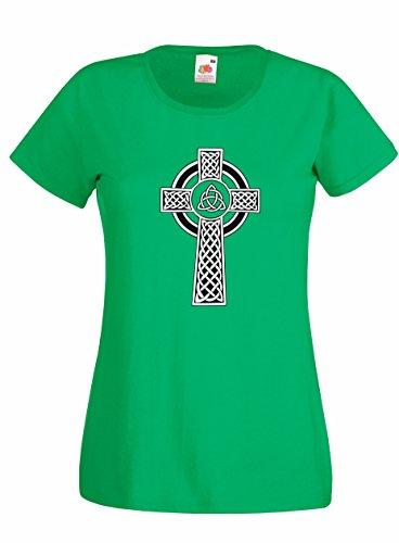 Settantallora - T-shirt Maglietta donna J1944 Croce Celtica Tradizionale Verde