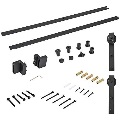 Homcom binario per porta scorrevole con spessore 3,4-4cm kit accessori con rulli tappi in stile rustico acciaio al carbone nero