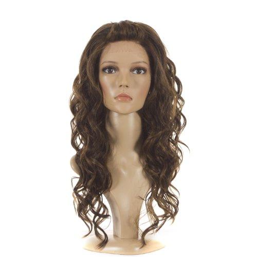 Hair By MissTresses Perruque Lace Front Synthetique Brune Longue Bouclée 3 Couleurs