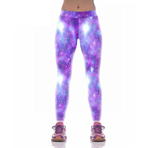 Jiayiqi Frauen Galaxy Sterne Gedruckt Breitband Taille Leggings Hosen Lila