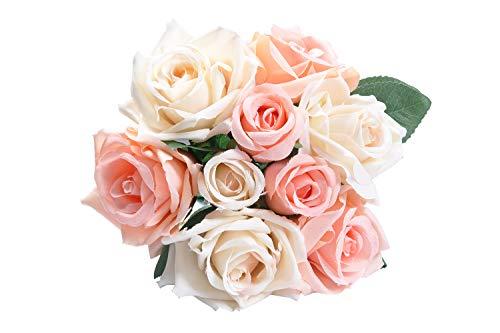 Pauwer Künstliche Rosenblüten 9 Kopf Seide Fake Rose Bouquet Hochzeit Party Hausgarten DIY Dekoration