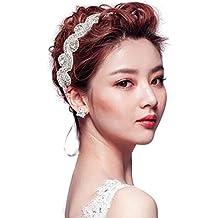 1PCS bianco strass di cristallo gioielli di perline fatto a mano per capelli  fascia raso capelli 1660b3e957f7