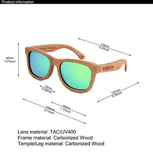 597556d5e7 VOBOOM® Men Women Carbonized Bamboo Sunglasses Polarized Bamboo ...