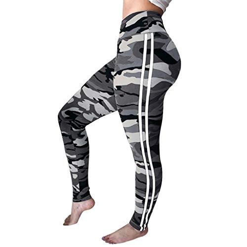 ggings Hose High Waist Tarnung Drucken Fitness Training Gym Stretch Running Sport Workout Leggings Gamaschen(Grau,XL) ()