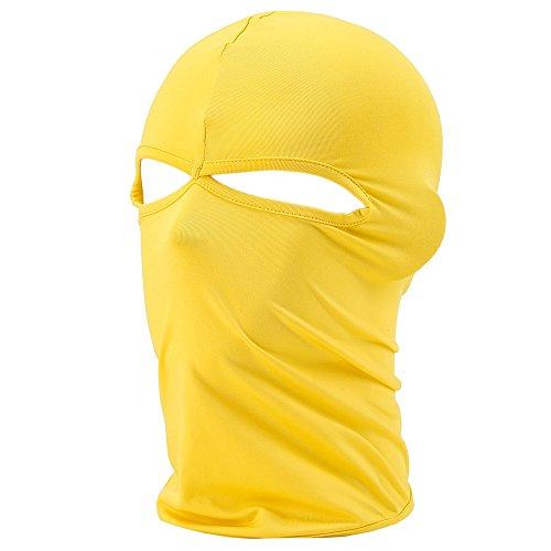 FENTI Multifunktionen Gesichtsmaske aus Lycra 2 Loecher Sport Balaclava Einfarbige Maske Warm Fahrrad Ski Snowboard Gelb
