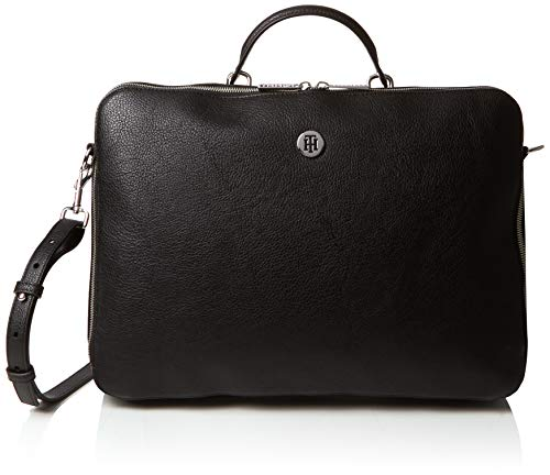 Tommy Hilfiger Damen TH Core Laptop Bag Tasche, Schwarz (Black/Silverfiligree), 5x28.5x38.5 cm