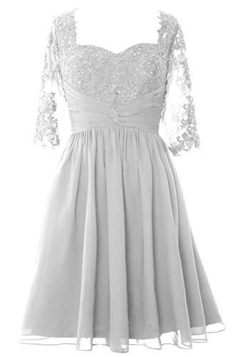 MACloth Elegant Half Sleeve Mother of Bride Dress Midi Cocktail Formal Gown white