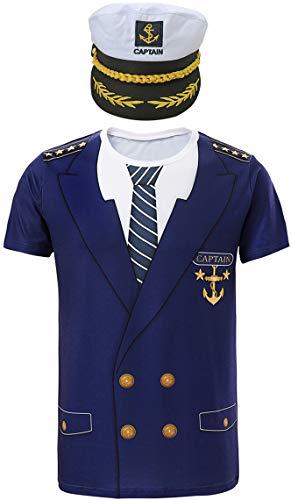Cosavorock Costume da Capitano Marina Uomo Maglietta e Cappello (M, Navy Blu)