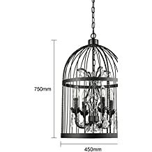 araña de jaula de grillos/Cristal retro lámpara dormitorio ideas sencillo restaurante coffee shop tienda de ropa/[lámpara de hierro Birdcage]-B