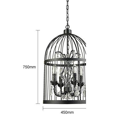 lampadario di piume di struzzo/Cristallo retro lampada della camera da letto idee semplice ristorante coffee shop negozio di abbigliamento/[lampada di ferro Birdcage]-B