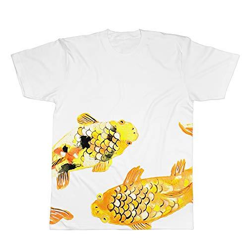 T-shirt manica corta gold carp koi carpa tattoo japan (m)