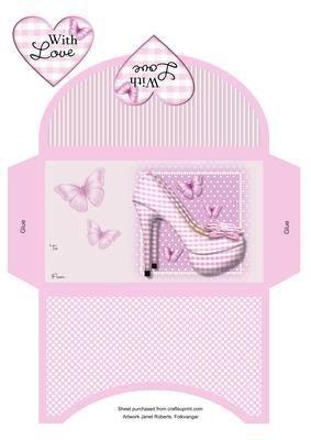 Pink Gingham scarpe portafoglio by Janet Roberts