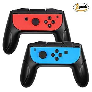 ykooe Grips für Nintendo Switch Joy-Con Gaming Controller, [Ergonomisches Design] Verschleißfesten Komfort Gamepad Joy-Con Griff Schutzhülle für Nintendo Switch Joy-Con [2 Stück] – Schwarz