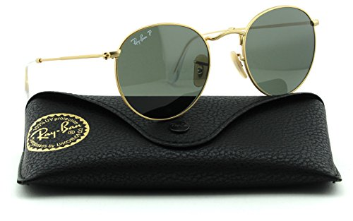 Ray-Ban RB3447 112/58 Round Matte Gold Frame / Green Polarized Lens 50mm