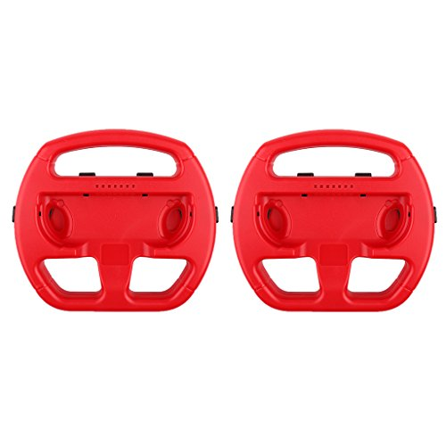 Phenovo 2Pcs Durable and Comfort Racing Steering Wheel for Nintendo Switch Joy-Con Red