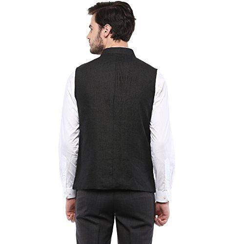 Turtle Black Solid Nehru Waistcoat