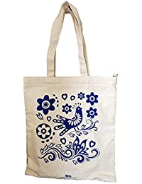Arka 100% Cotton Eco-Friendly Zipper Tote Bag Printed Blue Bird With White Handle