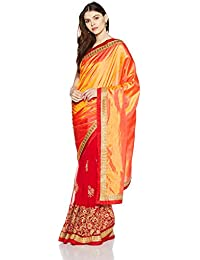 Womanista Women's Art Silk & Faux Georgette Sari With Blouse Piece(FS9381_Orange And Red_Free Size)