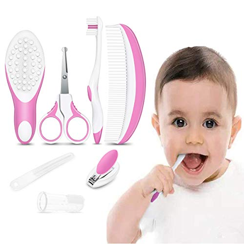 iRegro Baby Grooming Set, Healthcare Kit - 7-Piece Baby Grooming Kit Set (pink)