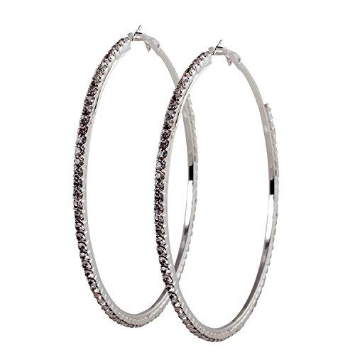 Geralin Gioielli Damen Ohrringe große Creolen Silber Strass 8cm Fashion Ohrhänger Vintage