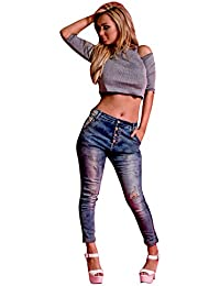 Women's Ladies Blue Cheap Casual Distressed Skinny Jean