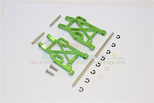 Kyosho Mini Inferno Tuning Teile Aluminium Rear Lower Arm With E-Clips & Pins & Delrin Collars - 1Pr Set Green - Eclip-pin