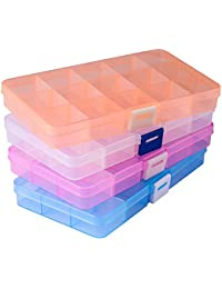 Opret Jewellery Organiser(4 pack), 15 Grids Plastic Storage Box Jewellery Box with Adjustable Dividers Earring Storage Containers