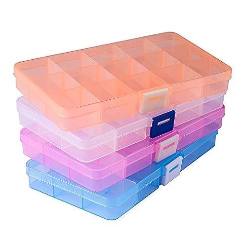 Jewellery Organiser(4 pack), Opret 15 Grids Plastic Storage Box Jewellery