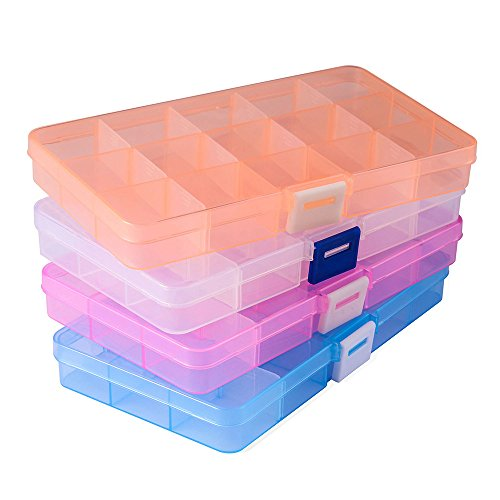 Opret 4 Pack Caja de Almacenamiento de plástico (15 Compartimentos) con separadores Ajustables Organizador de Joyas