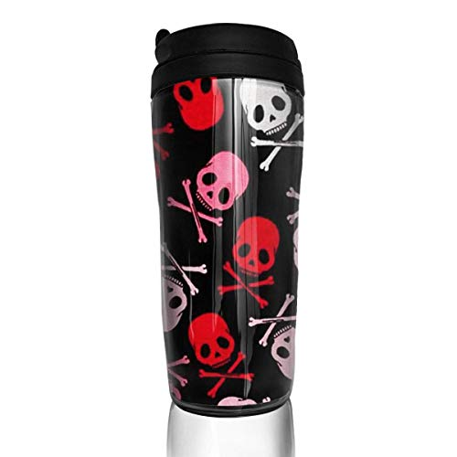 Travel Coffee Mug Death Skeleton 12 Oz Spill Proof Flip Lid Water Bottle Environmental Protection Material ABS
