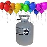 Einweg Heliumflasche Helium Ballongas XXL 420 Liter Heliumbehälter Inclusive 50 Luftballons und 50 Ballonband