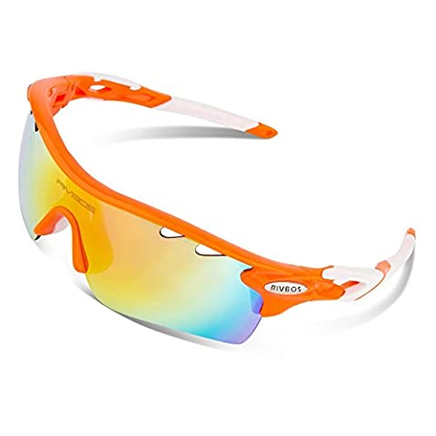 RIVBOS 801 Polarized Sports Sunglasses with 5 Interchangeable Lenses for Men Women Cycling Running Glasses(TR Orange)