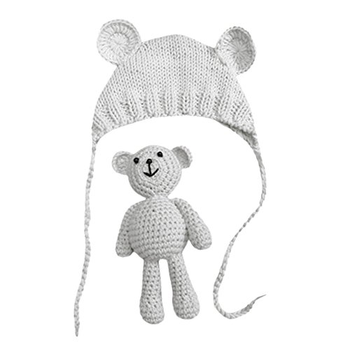 Neugeborene Baby Fotografie Requisiten Boy Girl Crochet Kostüm Outfits Hat Bär Set Handarbeit gehäkelte Baby kostüm fotoshooting Hut Yuiopmo