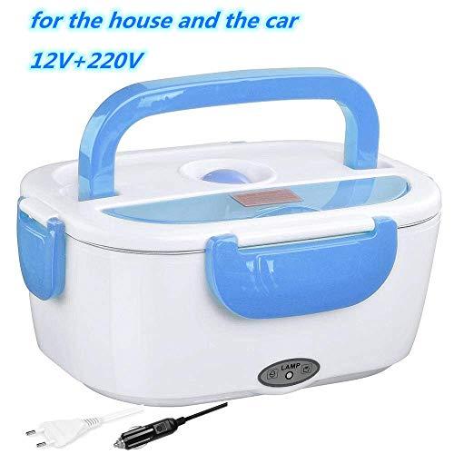 NIFOGO Fiambrera Termica Electrica para Coche y Trabajo Fiambreras Comida Trabajo,Tupper Electrico Recipientes Comida para Comida Caliente (Azul)