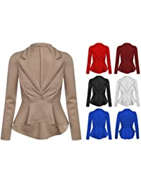 Womens Ladies Crop Frill Shift Slim Fit Fitted Peplum Blazer Jacket Coat UK 8-14 (S/M (UK 8/10), Beige)