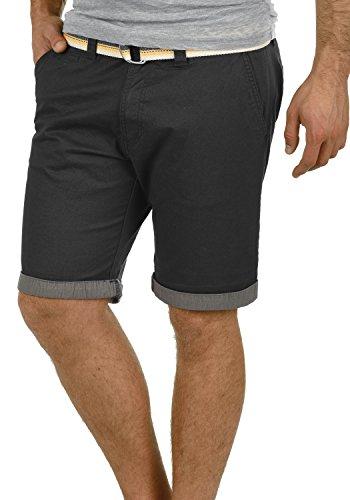 SOLID Lagos Herren Chino-Shorts kurze Hose Business-Shorts mit Gürtel aus hochwertiger Baumwollmischung, Größe:L, Farbe:Black (9000) (Super Kurze Shorts)