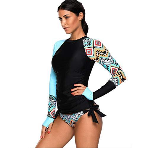 Winkey  Surf Suit, Frauen Langarm UV Sonnenschutz UPF 50+ Rash Guard Top 7 Badeanzug Set