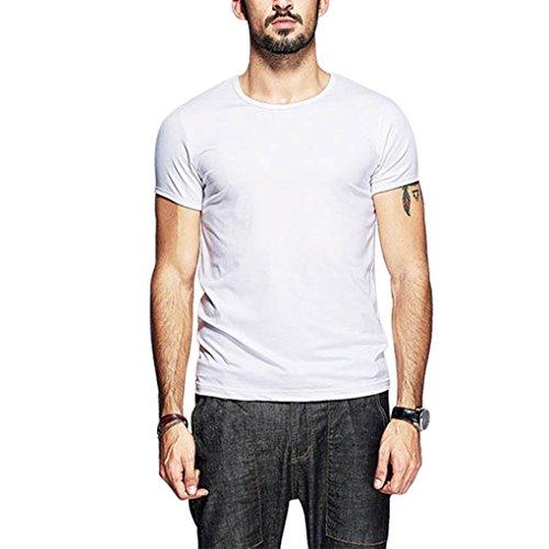 T Shirt Manica Corta Uomo Ragazzo Maglietta Estate Slim Fit Collo Rotondo in Cotone Casual Basic T-Shirt Top Sportive Camicia Tinta Unita Elegante - Landove Bianco