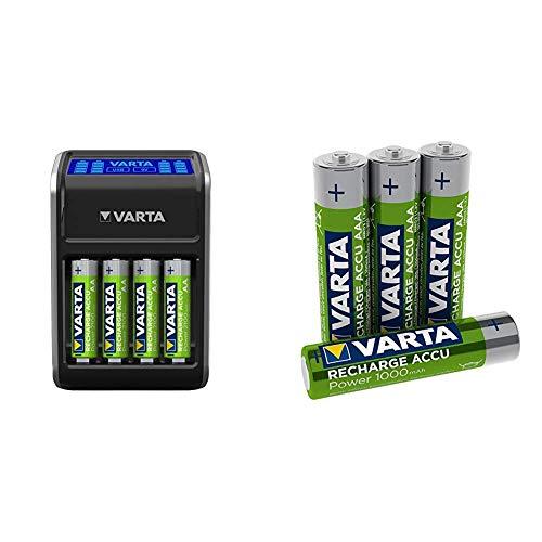 Varta LCD Plug Ladegerät für AA/AAA/9V und USB-Geräte schwarz  (Design kann abweichen) + Rechargeable Accu Ready2Use vorgeladener AAA Micro Ni-Mh Akku 4er Pack 1000 mAh