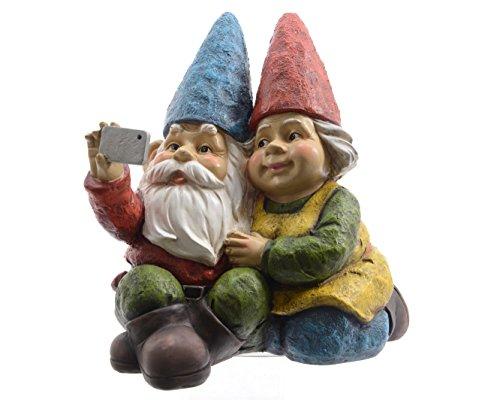 Zwerg Mann und Frau mit selfie Gartenzwerg Gnom Gartendeko Figuren Garten Poly-Zwerg H a. 23 cm