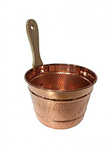 'CopperGarden' Saunaeimer/Schwalleimer aus blankem Kupfer mit Holzgriff