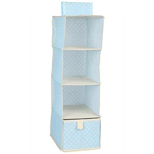 Kleiderschrank Regal zum Aufhängen Kleidung Organizer Regal Taschen DIY, blau
