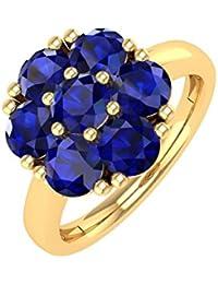 18K Gold Rund Blau Saphir Verlobungsring Band Ring (11/2Karat)