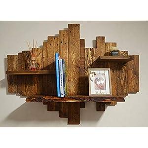 Hölzern bibliothek, rustikal rahmen massivholz, altholz regal schwebend, holz schrankwand braun, zurückgewonnene Palette holz Hängeschrank
